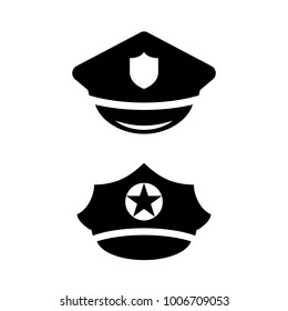 Policeman Hat Vector Icon Set Illustration Isolated On White Background