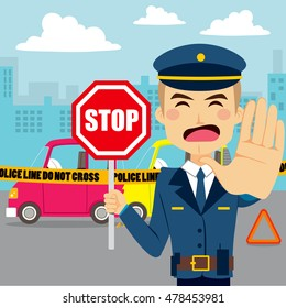 Policeman holding traffic sign and showing hand palm stopping access to car accident scene