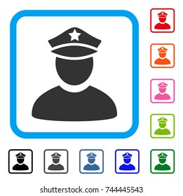 Policeman icon. Flat gray iconic symbol inside a blue rounded rectangular frame. Black, gray, green, blue, red, orange color versions of Policeman vector. Designed for web and app interfaces.