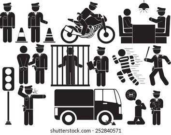 policeman icon set