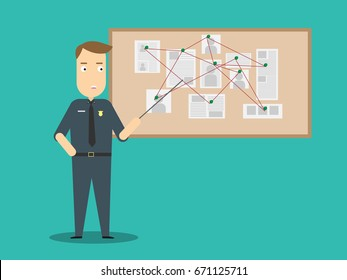 Policeman with investigation board.Crime investigation flat design concept