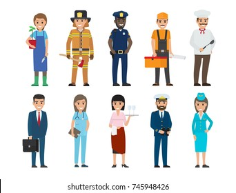 Policeman and lifesaver, mariner and cook, stewardess and doctor, manager with briefcase, builder and gardener with plant and waiter vector