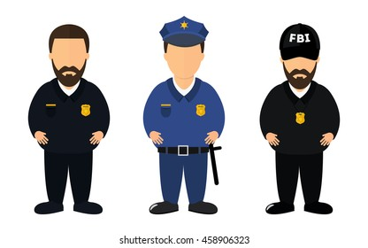 Policeman, patrol sheriff and FBI agent job vector models. WIthout face. On the isolated background