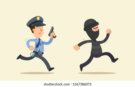 Policeman with a pistol chases a criminal. Police officer fired a warning shot. Running cop with gun. Vector illustration, flat design cartoon style. Isolated background.