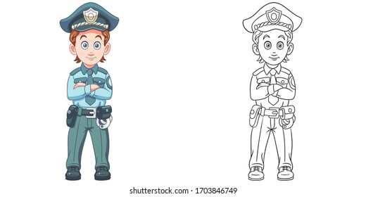 Policeman or police officer. Coloring page and colorful clipart character. Cartoon design for t shirt print, icon, logo, label, patch or sticker. Vector illustration.