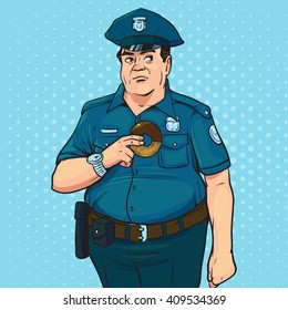 policeman, pop art, retro style, police officer, comic book style conceptual illustration, serious man in uniform, with donut, cap, character, protect, serve