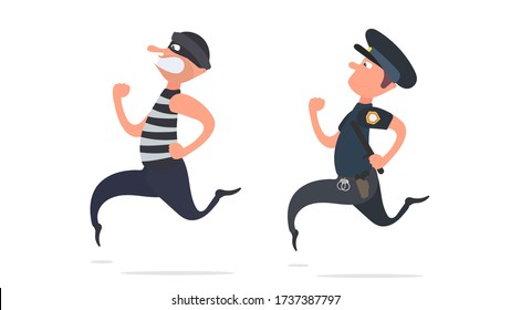 A policeman runs after a thief. The criminal escapes from the policeman. Separate on a white background. Cartoon style. Vector.