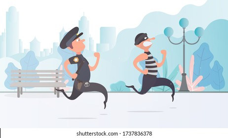 A policeman runs after a thief. The criminal escapes from the policeman.  Cartoon style. Vector.