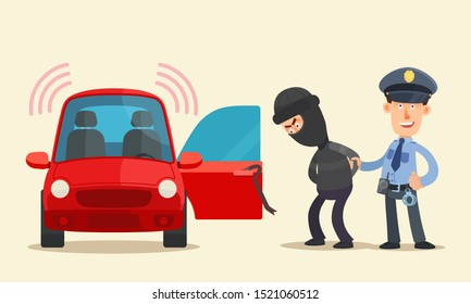 Policeman, security guard, caught the car thief. Policeman holding hijacker hand near the car with open door. Burglar arrested. Vector illustration, flat cartoon style. Isolated background, side view.
