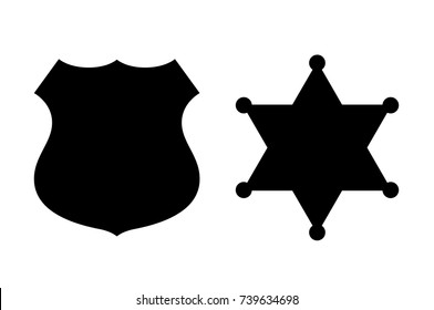 Policeman and sheriff badge icon vector illustration isolated on white background