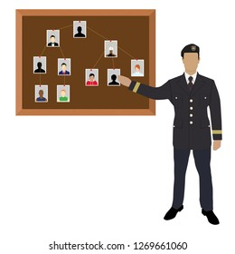 Policeman, soldier, captain with investigation board.Crime investigation concept