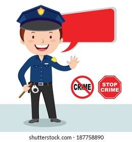 Policeman, stop crime. Vector illustration of a cheerful policeman with stop crime sign.