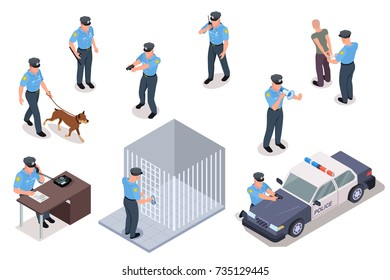Policeman in uniform with dog and weapon detains dangerous criminals isolated cartoon isometric vector illustrations set on white background.