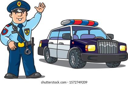 Policeman in uniform and police car. Cartoon set