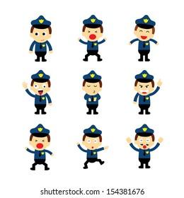policeman vector cartoon on white background
