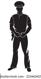 Policeman. Vector silhouette, isolated on white.