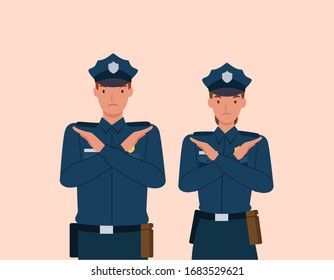 Policeman and woman with crossed arms gesture. Stop sign with hands and negative expression. Vector illustration in a flat style