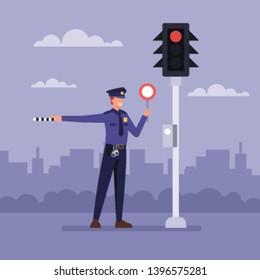 Policemen standing next a traffic light. Vector flat graphic design cartoon illustration