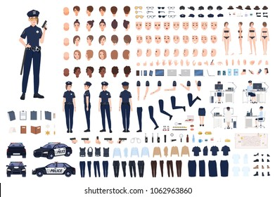Policewoman constructor or DIY kit. Collection of female police officer body parts, facial expressions, hairstyles, uniform, clothing and accessories isolated on white background. Vector illustration.