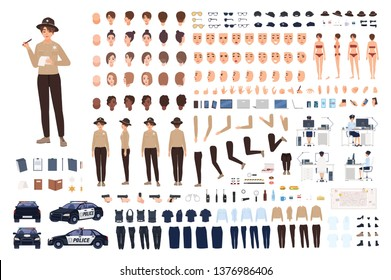 Policewoman constructor set or animation kit. Collection of female police officer body parts, gestures, postures, clothes or uniform isolated on white background. Flat cartoon vector illustration.