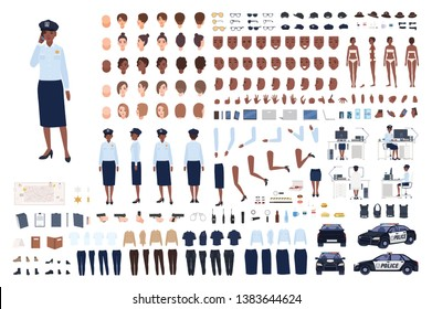 Policewoman constructor set or DIY kit. Bundle of female police officer body parts, gestures, poses, emotions, work uniform, workplace isolated on white background. Flat cartoon vector illustration.