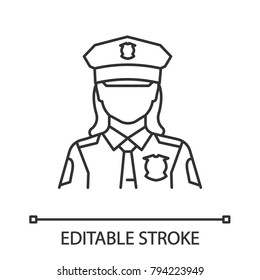 Policewoman linear icon. Police officer. Thin line illustration. Cop. Contour symbol. Vector isolated outline drawing. Editable stroke