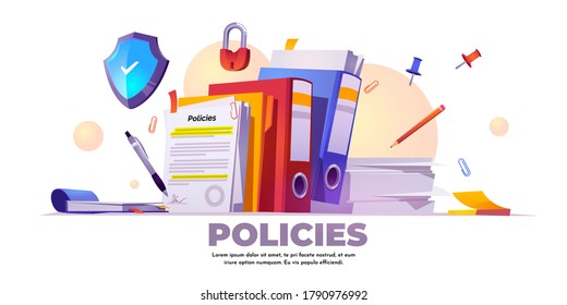 Policies banner. Concept of business documents for law compliance, legal regulation quality and procedures. Vector landing page of guideline, rules and agreement with cartoon paperwork illustration