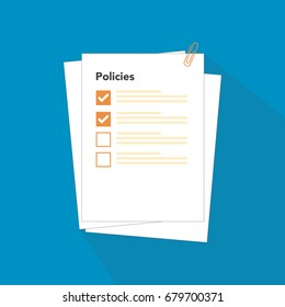 Policies regulation concept list document company with clipboard, vector illustration