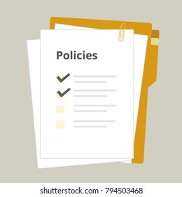 Policies regulation concept list document company clipboard and folder, vector illustration