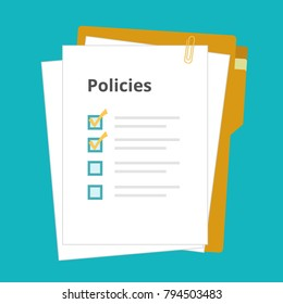 Policies regulation concept list document company clipboard and folder, vector illustration