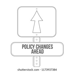Policy changes ahead line street sign isolated over a white background