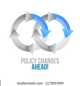 Policy changes ahead. moving together cycle concept sign isolated over a white background