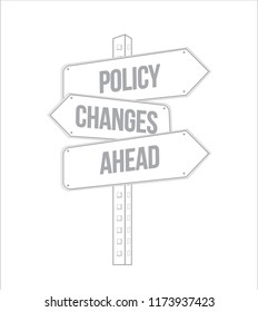 Policy changes ahead multiple destination line street sign isolated over a white background