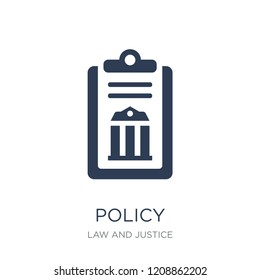 policy icon. Trendy flat vector policy icon on white background from law and justice collection, vector illustration can be use for web and mobile, eps10