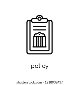 policy icon. Trendy modern flat linear vector policy icon on white background from thin line law and justice collection, editable outline stroke vector illustration