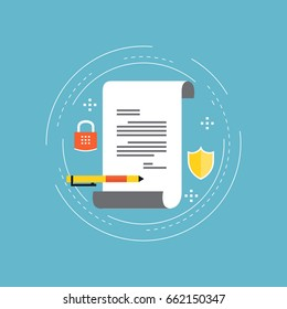 Policy insurance, signing contract, confidential document, certificate, diploma flat vector illustration design. Design for web banners and apps