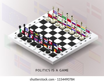 Policy. The policy is presented in the form of chess. Chess with flags of different countries. The pieces are moved to create different combinations and positions (checkmate, zugzwang, stalemate, chec