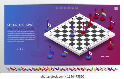 Policy. The policy is presented in the form of chess. The position of check the king is shown. Chess with flags of different countries. The shapes are moved to create different combinations and positi