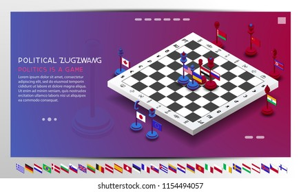 Policy. The policy is presented in the form of chess. The position of zugzwang is shown. Chess with flags of different countries. The shapes are moved to create different combinations and positions