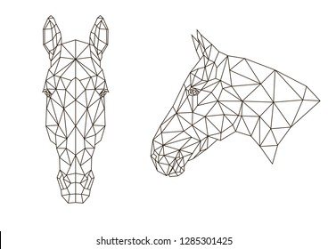 Poligonal horse head in front and in profile