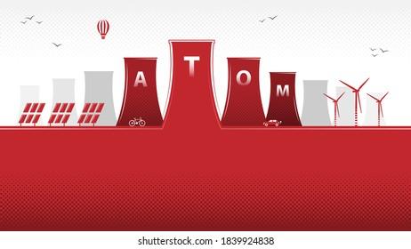 Polish atom. Polish nuclear energy program. Renewable energy sources. Nuclear power stations in Poland. Vector.