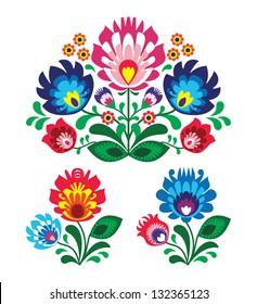 Polish floral folk embroidery pattern - wycinanka, wzory ?owickie