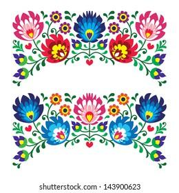 Polish floral folk embroidery patterns for card - wycinanka, Wzory ?owickie