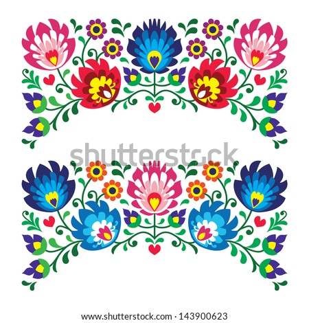 Polish Floral Folk Embroidery Patterns Card Stock Vector Royalty