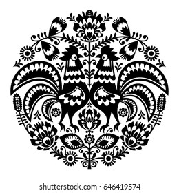 Polish folk art floral round embroidery with roosters, traditional pattern - Wycinanki Lowickie