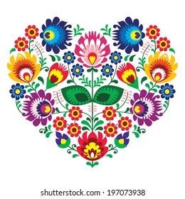 Polish folk art art heart embroidery with flowers - wzory lowickie