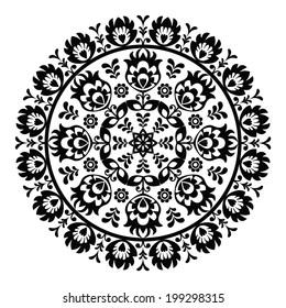 Polish folk art pattern in circle - wzory lowickie, wycinanki