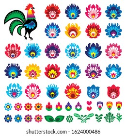 Polish folk art  vector design elements - flower, rooster, leaves. Perfect for textile patterns or greeting cards. Retro floral decorations inspired by traditional art from Poland