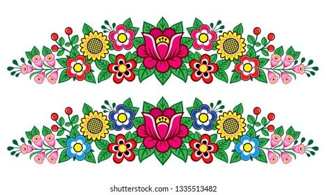 Polish folk art vector floral long decoration, Zalipie decorative pattern with flowers and leaves - greeting card, wedding invitation. Retro folk design inspired by traditional ornaments from Poland,