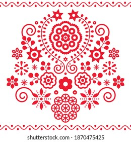 Polish folk art vector pattern inspired by traditional highlanders embroidery Lachy Sadeckie - retro floral design. Cute red ornament with flowers, old ethnic design from mountains in Poland